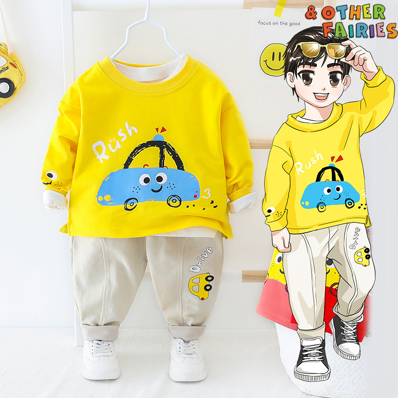 Baby Boy Clothes Cotton Warm Two-piece Suit Cartoon Car Round Neck Letter Printing Casual Sports Clothing Cotton Baby Boy Suit