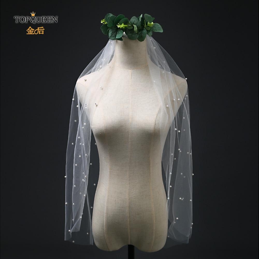TOPQUEEN VS04 Elegant Wedding Veils 1 Layers Bridal Veil 2019 Pearl Wedding Veil White Ivory Wedding Veil Bridal Veils With Comb