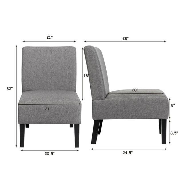 Set of 2 Armless Accent Chair  2