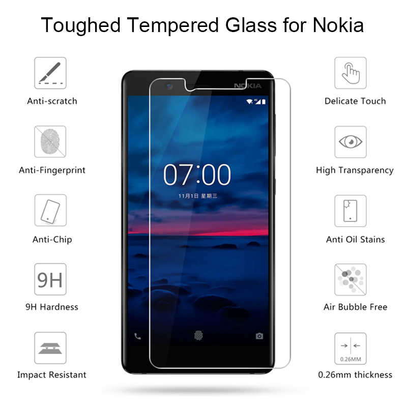 Gehärtetem Glas 9H HD Toughed Schutz Glas auf die für Nokia 9 8 7 Plus 6 5 2017 Bildschirm protector für Nokia 4 3 2 1