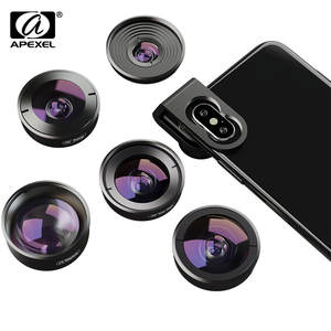 APEXEL Macro Telescope-Lens Mobile-Phone Xiaomi Lens-Kit Fisheye Wide-Angle Samsung Super