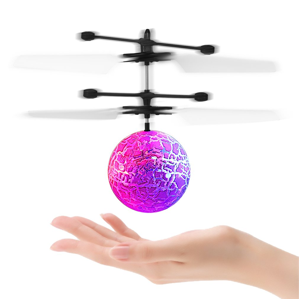 OCDAY Mini Flashing Crystal Ball Luminous Light-up Toys Hand Suspension Helicopter Aircraft Colorful LED Flashing For Kids' Toy