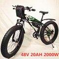 Новый тип электровелосипеда 48 в 2000 Вт/Вт горный пляжный велосипед очень большой литиевый аккумулятор 15 Ач/20 Ач Электрический снегоход bi