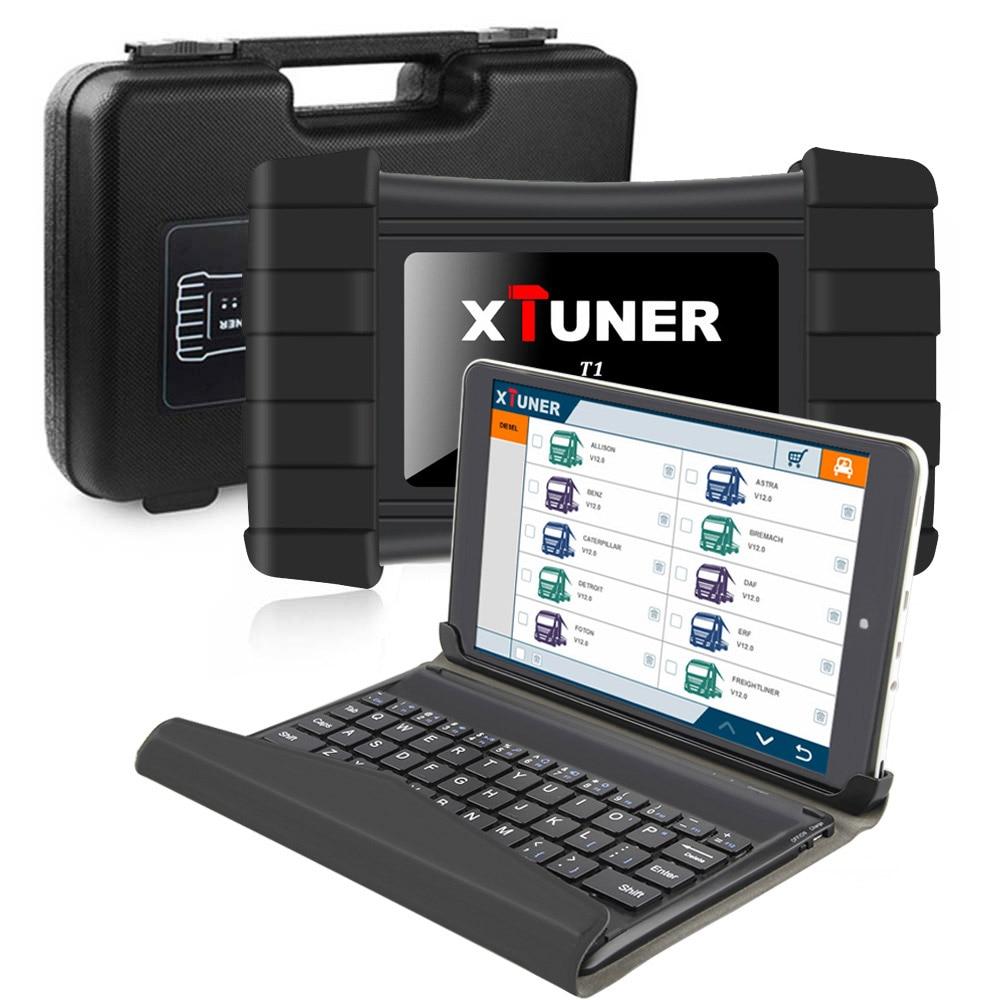 2019 XTUNER T1 Heavy Duty Lkw-diagnosewerkzeug mit Airbag DPF ABS OBD2 Scanner für Lkw + 8 zoll Winows10 tablet Autoscanner