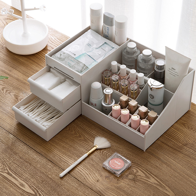 Plastic Makeup Organizer Multi-purpose Storage Box Jewelry Container Make Up Case Box title=