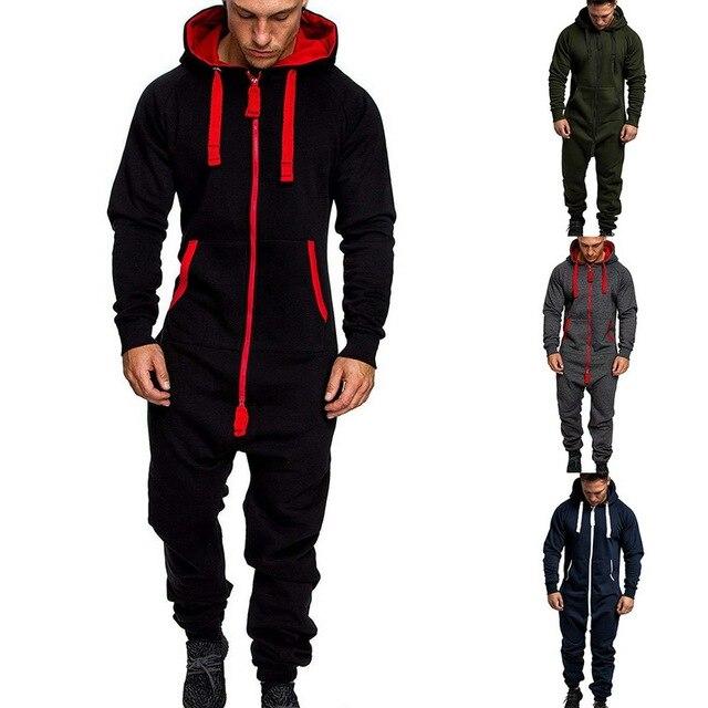 Men One Piece Sets Men's Hooded Fleece Jumpsuit Camouflage Print Personality Casual Suit Men