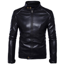 2020 Men Solid Casual Moto Biker Leather Jackets Man Bomber Jacket Male Outwear Coat Autumn Pilot Jacket Mans Cool Jacket S--5XL free shipping new cool hot pu mandarin collar men s black solid leather motorcycle biker jacket sizes s to xxl