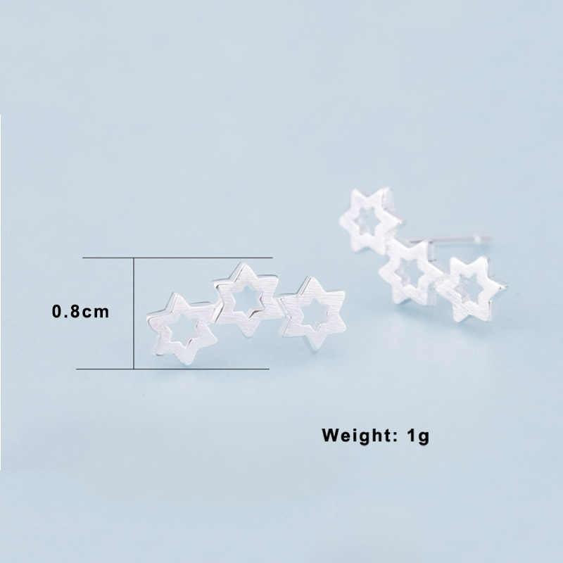 XIYANIKE 925 スターリングシルバー韓国スタイル 3 星中空手作りのスタッドピアス女性のファッションシンプルな小型の耳フープジュエリー