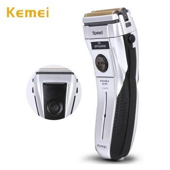 Kemei-afeitadora eléctrica para hombre, afeitadora eléctrica para barba, depilación facial, doble cabezal de corte