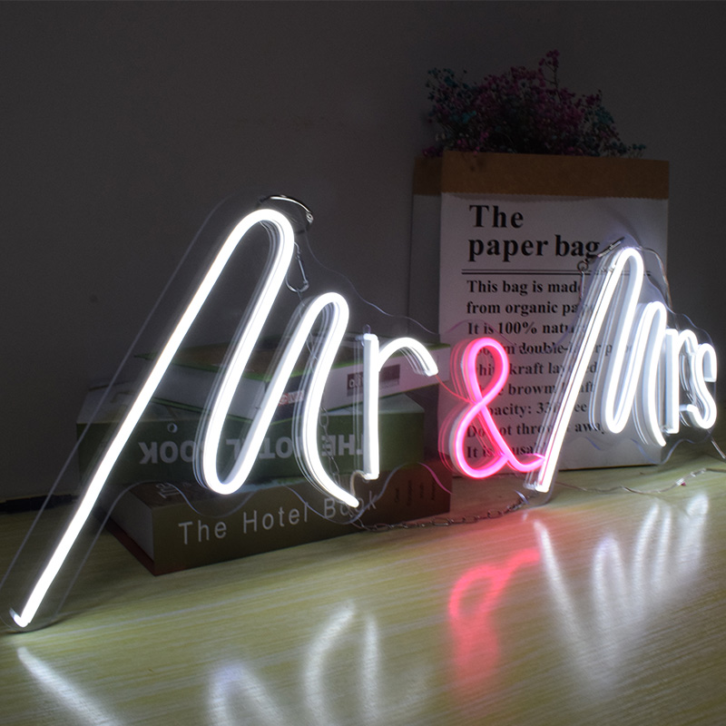 Hdjsign12v Transparent Acrylic Mr Mrs Flex Led Neon Light Ins Wall Decor Neon Wall Signs Light Up Signs Neon Bulbs Tubes Aliexpress