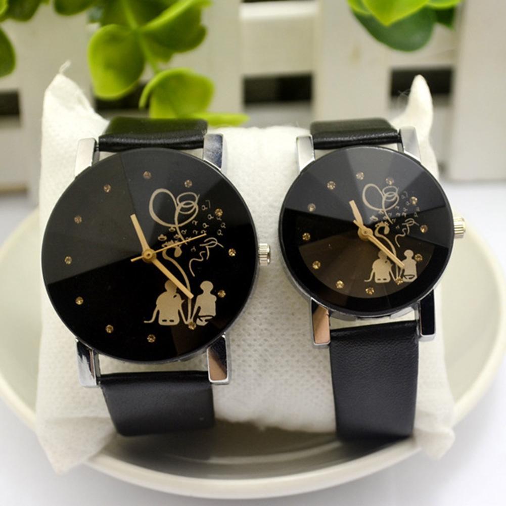 Top Luxury Couple Watch Fashion Men Women Couple Watch Back Rhinestone Faux Leather Analog Quartz Wrist Watch Lovers Watches HOT