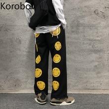 Women Pants Smile-Pattern High-Waist Harajuku-Trousers Streetwear Wide New-Fashion Korobov