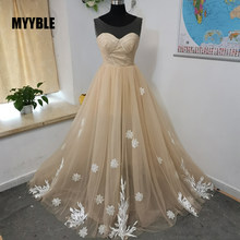 2020 Myyble Real Photo Mode Nieuwe Champagne Avondjurk Elegante Bruid Lange Scoop Kant Applicaties Prom Dresses Formele Gowns(China)