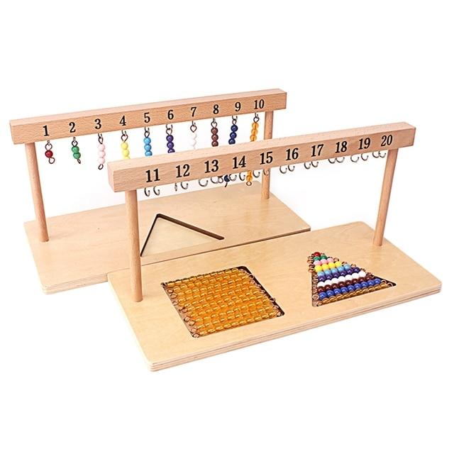 Montessori Lehre Math Spielzeug Digitals Zahlen 1 20 Aufhänger Und Farbe Perlen Treppen für Zehn Bord Vorschule Schule Ausbildung spielzeug