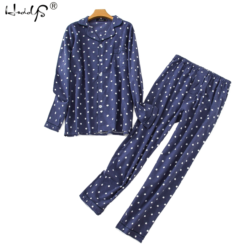 Mens Cotton Pajamas Set Plaid And Dot Print Long-sleeved Pajamas Suit Flannel Sleepwear Set Loungewear For Male Men Homewear