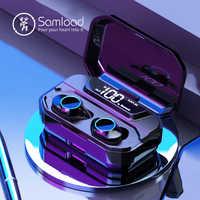 Samload bluetooth 5.0 fones de ouvido microfone embutido graves profundos sem fio ip6 7 à prova dwaterproof água earbud com 3300 mah caixa para iphone x