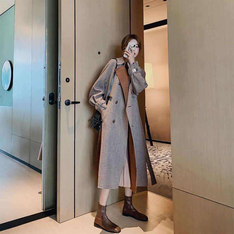 Kadınlar zarif uzun ceket sonbahar ve kış çift göğüslü ekose yün ceket kadın klasik Outware
