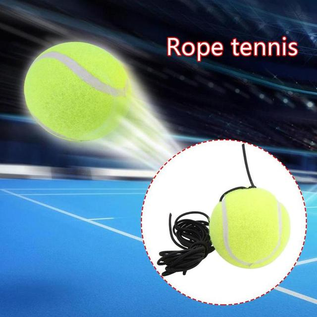 1pc Single Training Tennis Ball With Rope Bold Elastic Resistance Tennis Balls Durable Training Rubber J3S2