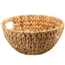 Практичная натуральная соломенная корзина для хранения фруктов, корзина для закусок, поднос для семян дыни, корзина для фруктов, Настольная корзина для хранения