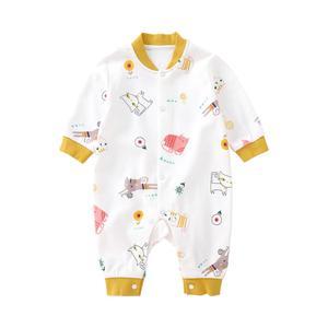 Image 2 - Pureborn Neugeborenen Unisex Baby Overall Langarm Baby Junge Mädchen Kleidung Baumwolle Cartoon Gedruckt Frühling Herbst Baby Romper Pyjamas