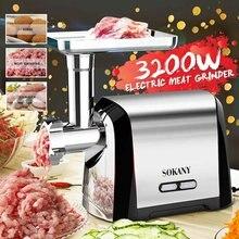 Broyeur à viande électrique 3200W, en acier inoxydable, appareil de cuisine robuste, robot alimentaire, pour hacher et saucisses