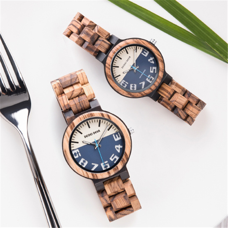 2019 New Fashion Custom Couple Wood Watch DODO DEER Brand Custom  Carved Watch  Luxury Watch Color Optional C11