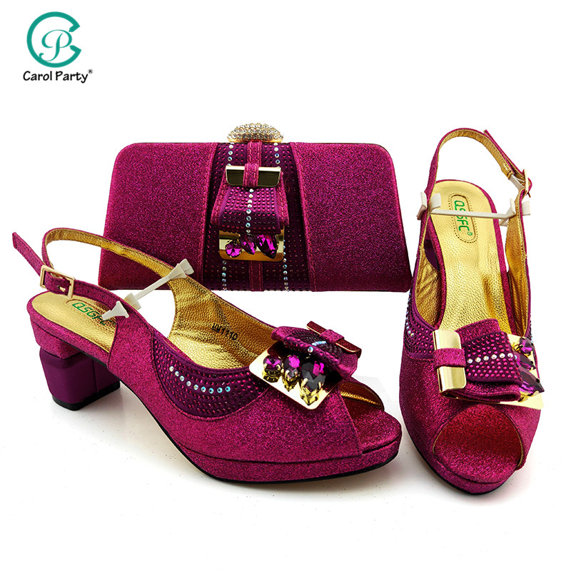 Newest Magenta Color African Fashion Woman Shoes And Bag Set For Wedding Latest Italian design Shoes And Matching Bag Set