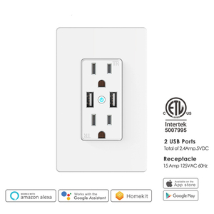 Image 2 - WiFi Smart Wall Socket US Wireless Electric Plug Outlets Touch Panel Control Homekit Duplex Receptacle Work by Alexa Google Home