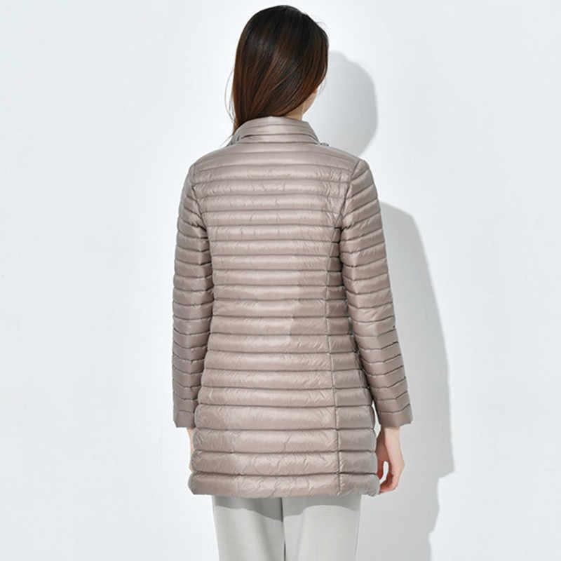 HIJKLNL ultralekkie doły kurtka 2020 nowa kobieta płaszcz zimowy z białą kaczuszką Plus rozmiar średniej długości płaszcz kobiety Parkas Mujer LH1106