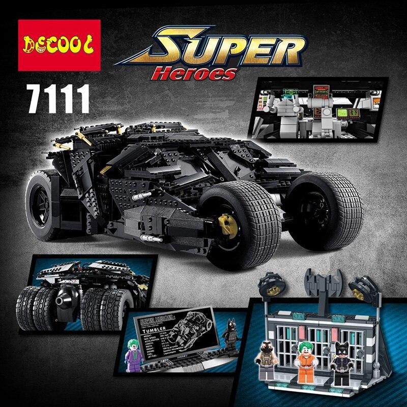 7111 dc super heróis batman chariot o tumbler batman carro blocos de construção modelo tijolos brinquedos compatíveis lepinglys 76023 07060