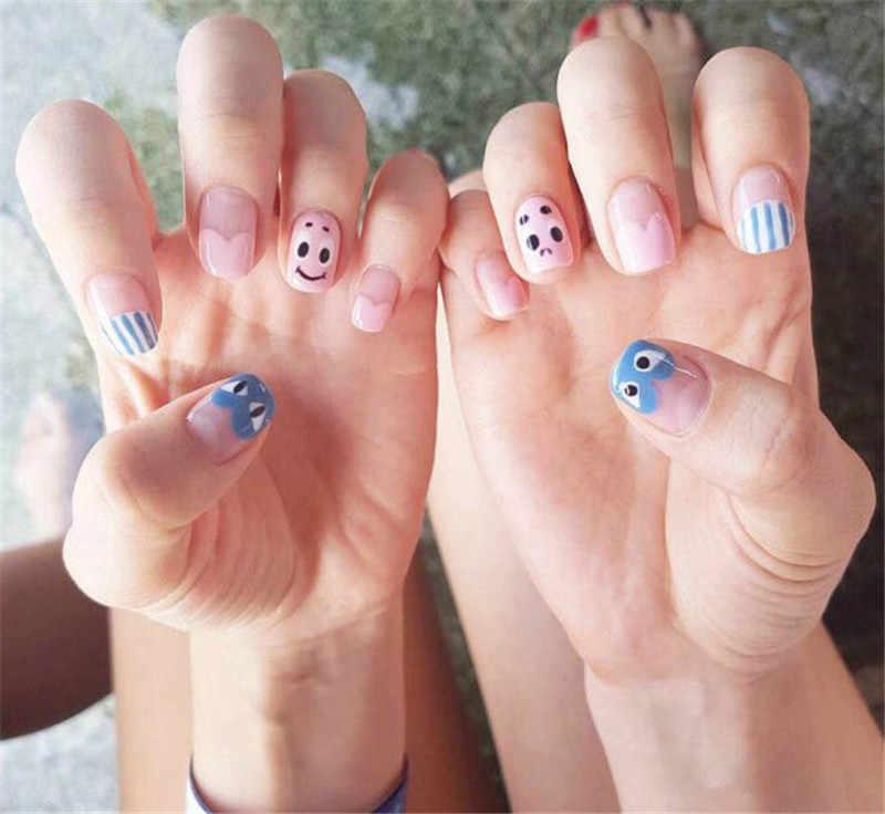 14 porady/zestaw pełna okładka naklejki na paznokcie folie Cute Cartoon lato styl kolorowe DIY naklejki ozdobne do paznokci zwykłe naklejki samoprzylepne