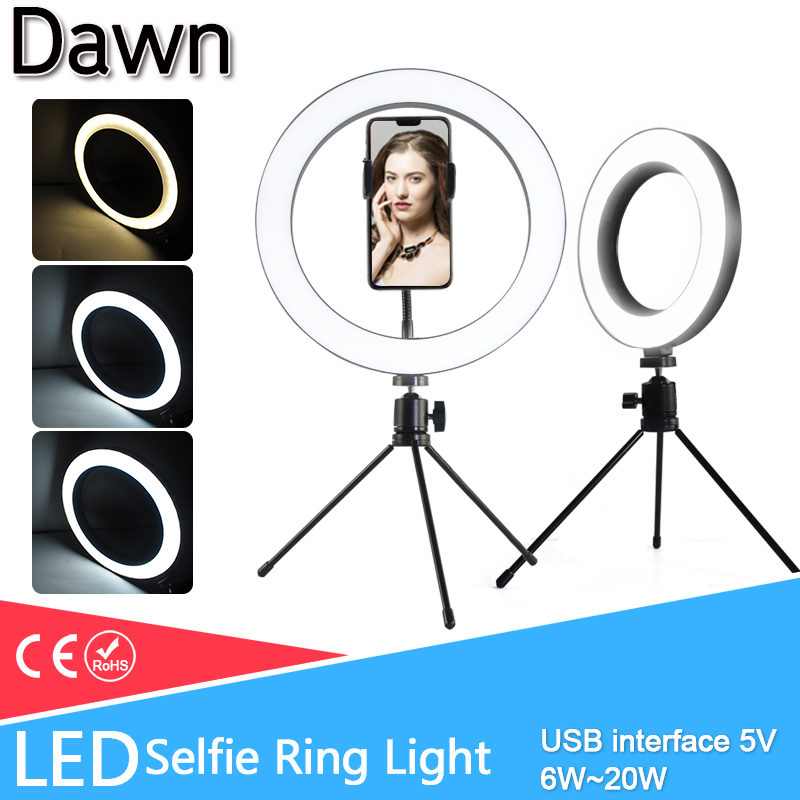 LED Selfie Stick Ring Light 10inch USB 5V Dimmable LED Ring Lamp Photo Video Camera Phone Ring Light For Live YouTube Fill Light