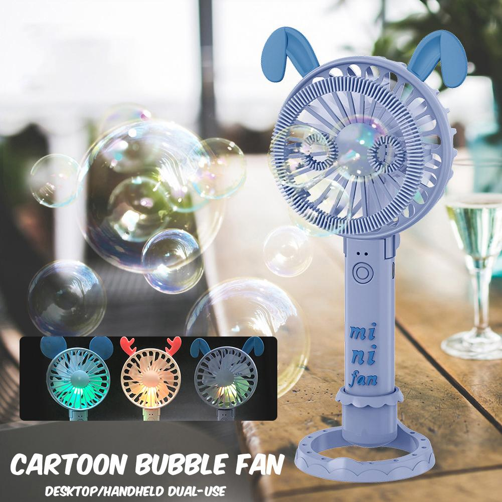 Portable Cute Cartoon Colorful LED Bubble Blower Summer Cooling Fan Kids Toy Features Colorful LED Light, Beautiful And Lovely.