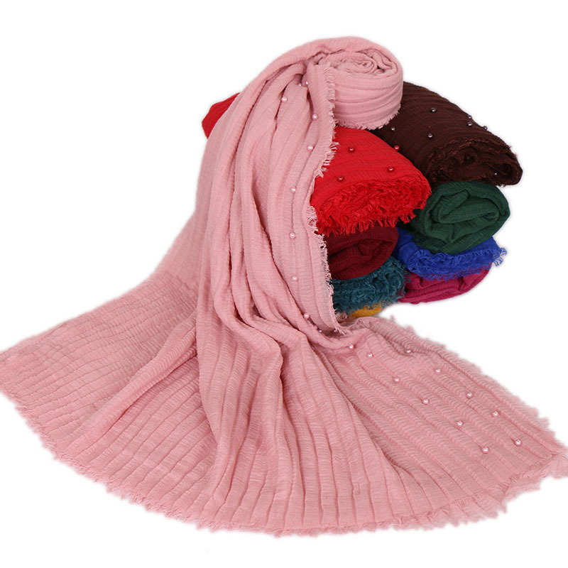 Fashion Cotton Crinkle Hijab Scarf Muslim Beading Shawls And Wraps Women Head Scarf Turban Hijabs Femme Musulman Islamic Scarves