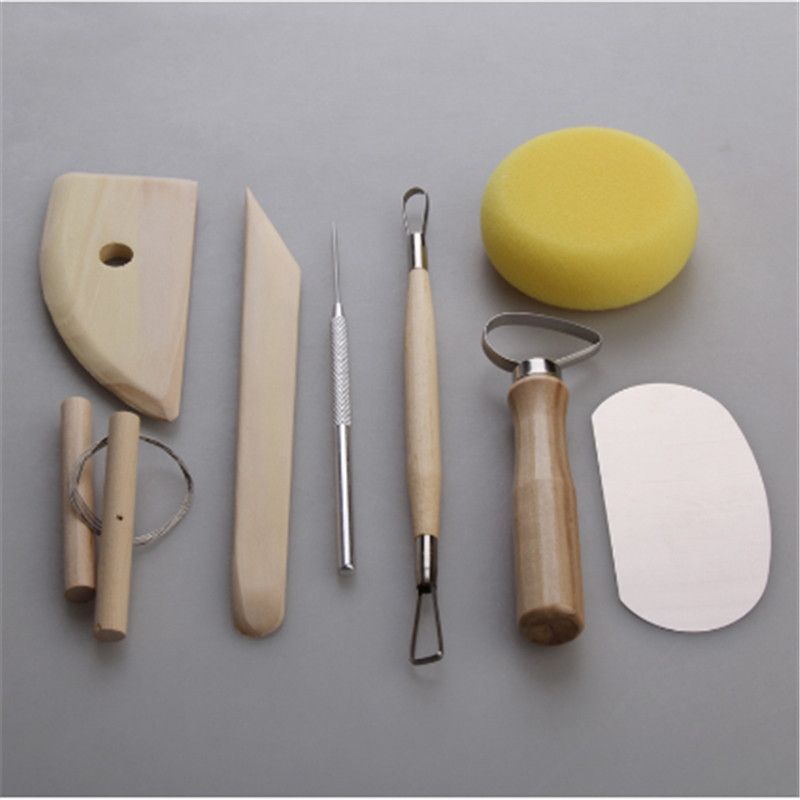 8Pcs/set Pottery Ceramic Tool Set DIY Hand Clay Ceramic Molding Tools Wood Knife Pottery Ceramics Clay Sculpture Modelling Kit