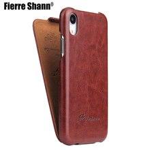 Fierre Shann אנכי Flip עור כיסוי מקרה עבור Apple iPhone 12 X XS XR XS מקס טלפון מגן Fundas Coque עבור iphone XR