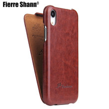 Fierre Shann Vertical Flip Leather Cover Case for Apple iPhone 12 X XS XR XS Max Phone Protector Fundas Coque for iphone XR