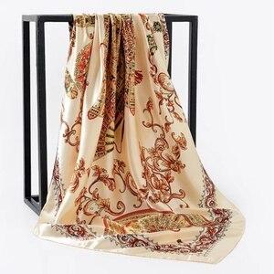 Image 4 - Весна лето квадратный шелковый шейный шарф женские шарфы шейный платок для офиса Дамская шаль Бандана 90 см мусульманский хиджаб платок из фуляра глушитель