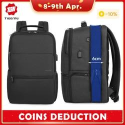 Tigernu Расширяемый Рюкзак Мужчина для 15.6-19-дюймовых ноутбуков / компьютерных рюкзаков с RFID и USB-зарядкой противоугонная сумка Мужской НОВЫЙ