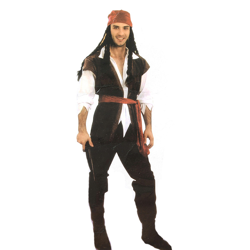 2017 New Style Costume Halloween Makeup Ball Character Stage Wear Jack Pirate Performance Costume Men's