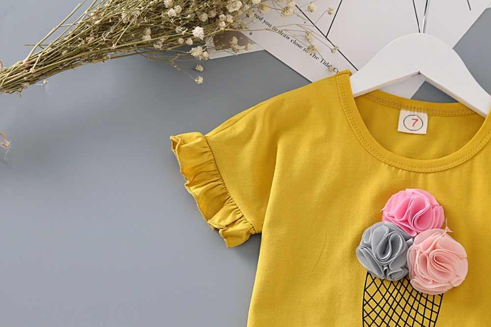 Meisjes Kleding Set Mode Ijs Geel Shirt Met Plaid Broek 2 Stuks Kinderkleding Set Mooie Set Baby Kids zomer Outfit