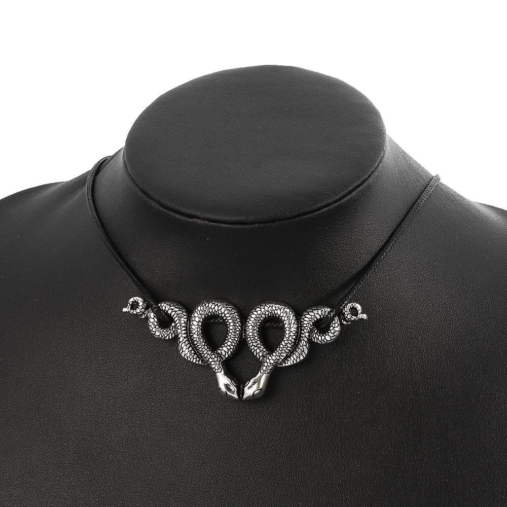 Со змеиным принтом в винтажном стиле и кожаный браслет обруч колье ожерелье змейки Для привлекательных Готический животное ожерелье в форме полумесяца языческих для привлекательных WICCA Панк ювелирные изделия Колье      АлиЭкспресс