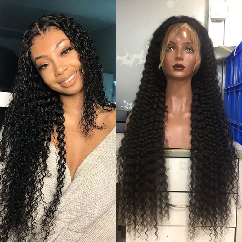 Curly Human Hair Wigs For Women 360 Lace Frontal Wig Deep Wave Bob Lace Front Wig 13x6 Fake Scalp 250 Density Ever Beauty Remy