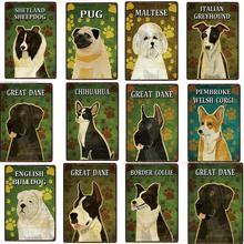 Мопс металлический знак Оловянная собака питбуль бык собака большой датчанин плакат с боксером домашний Декор Бар настенная живопись 20*30 см размер картины
