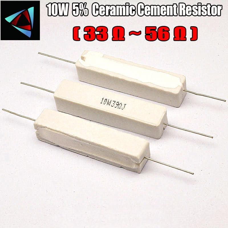 Resistor cerâmico do cimento de 10 w 5% 33 39 47 51 56 ohm r/componente passivo da resistência
