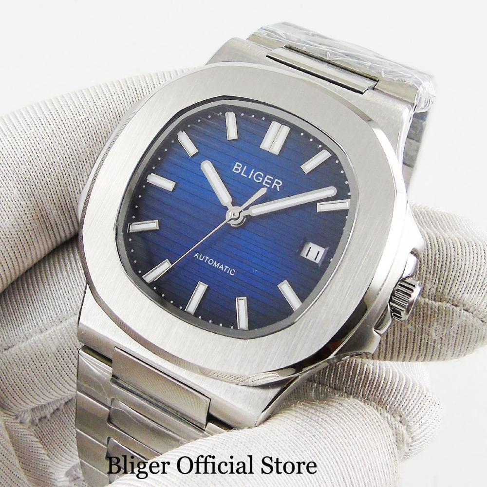 Luxury Style Dress 40mm Men Watch Automatic Movement Blue Sterile Dial Sapphire Glass Date Window Mental Strap Screw Down Crown - 2