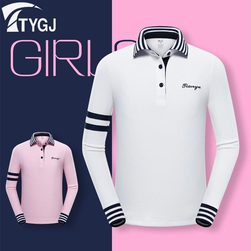 Pgm automne enfants filles Golf T-Shirt à manches longues décontracté enfants filles col rabattu Golf hauts sportwear S-XL D0815