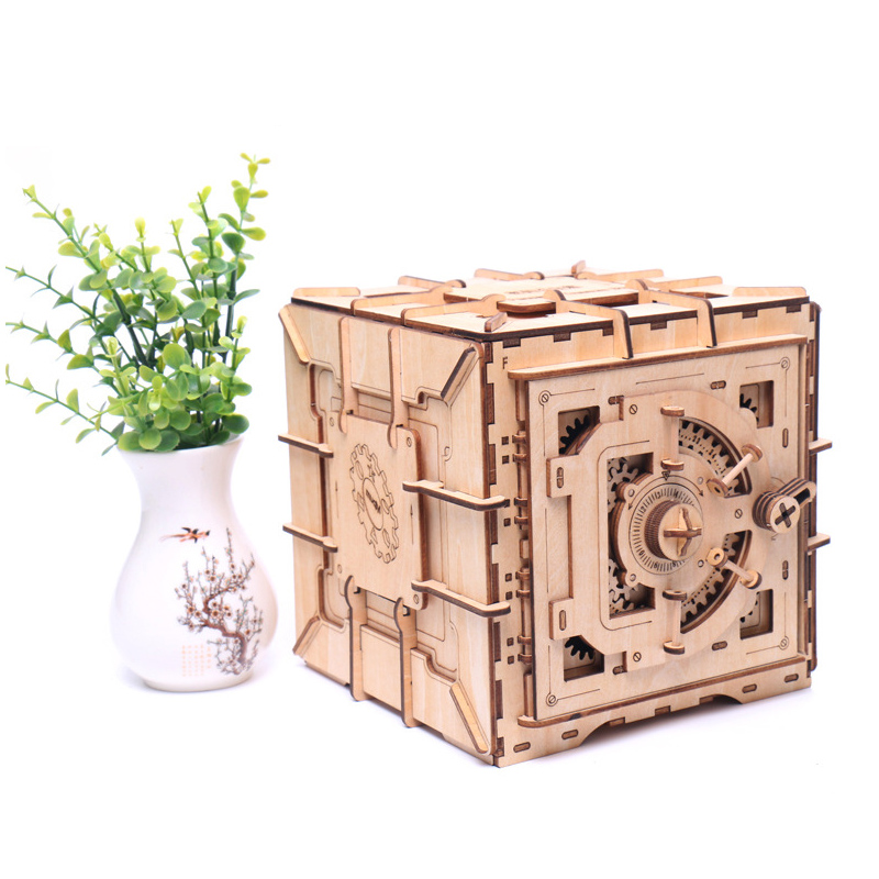 Children 3D Wooden Mechanical Password Treasure Box DIY Model Transmission Puzzle Piggy Bank Creative Mechanical Model Gift