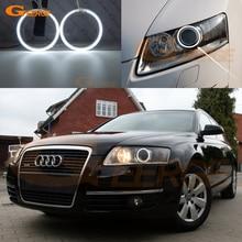 цена на Excellent Ultrabright headlight illumination CCFL Angel Eyes kit For Audi A6L A6 2005-2008 Angel Eyes Halo Ring