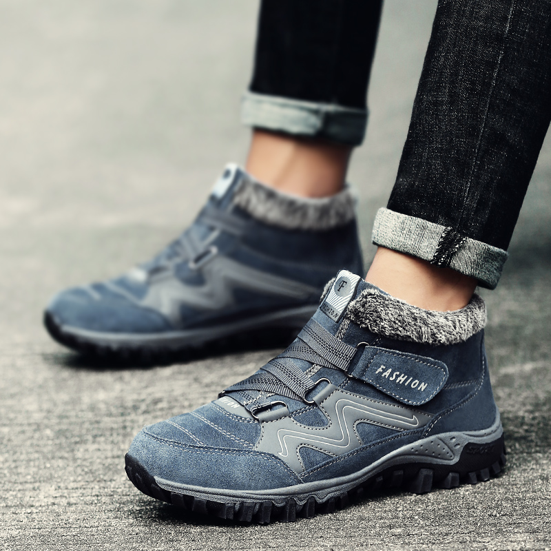 2019 Men Boots Winter With Fur Snow Comfortable Waterproof Hard Wearing Male Shoes Fashion Big Size 35-47 Outdoor Hiking Shoes